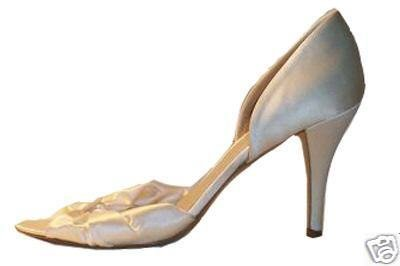 NEW J CREW HADLEY SATIN KNOTTED D'ORSAY HEELS in IVORY sz 6.5
