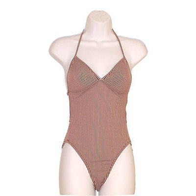 NEW J CREW HALTER BROWN STRIPED BATHING SUIT sz 6