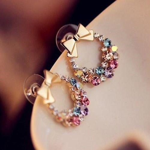 FASHION Women bowknot rhinestone Cute Sweet crystal Earring Ear Stud HS99 1 pair