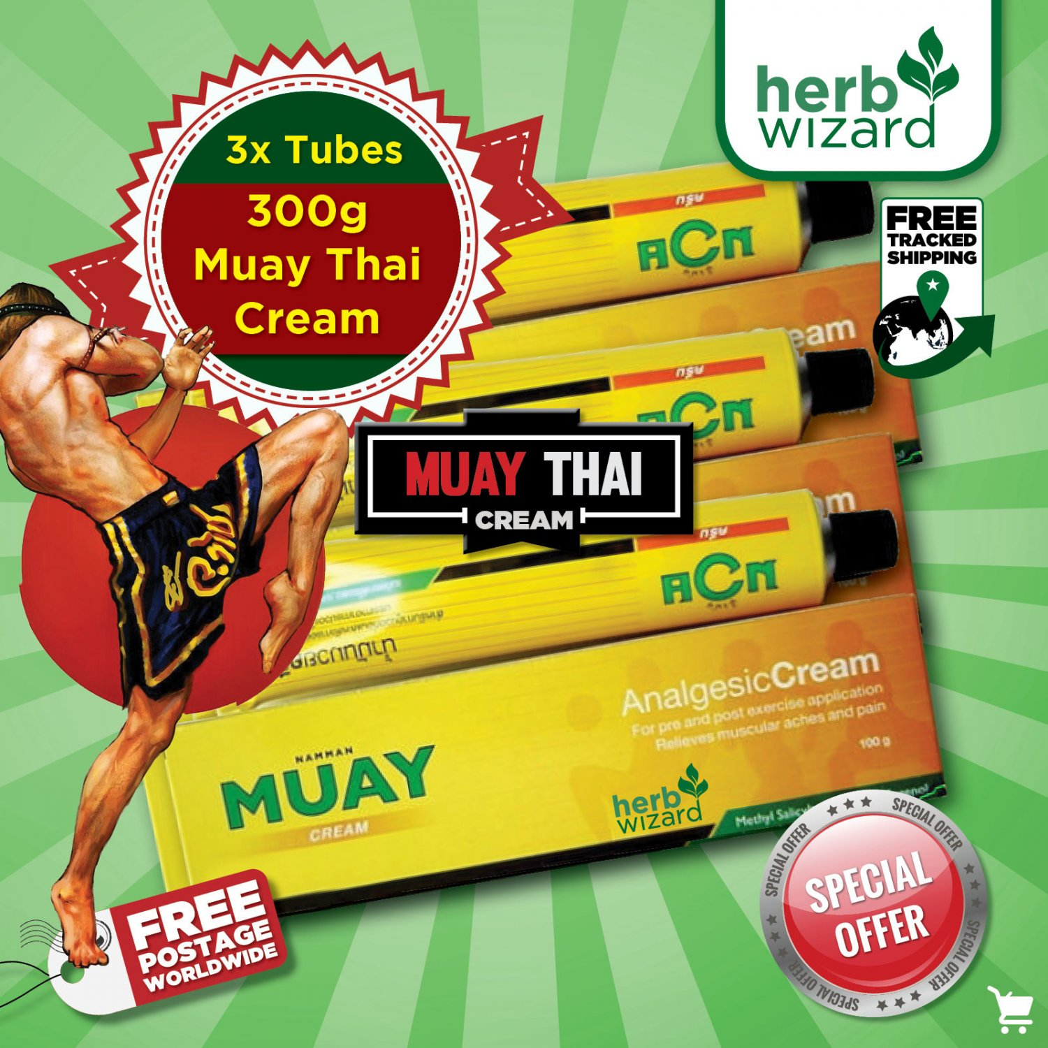 Namman Muay Thai Boxing Analgesic Cream 100g x 3.