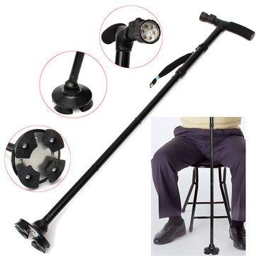 LED Light Sturdy Folding Elder Walking Stick Four Heads Pivoting Trusty Base Stretchable Cane