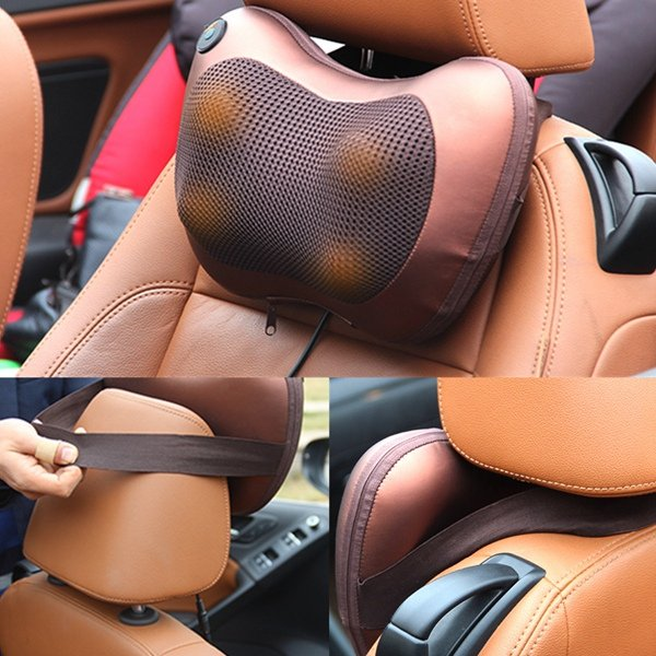 Electric Home Car Vibrating Kneading Heating Magnetic Therapy Massage Cushion Infrared Relax Pillow