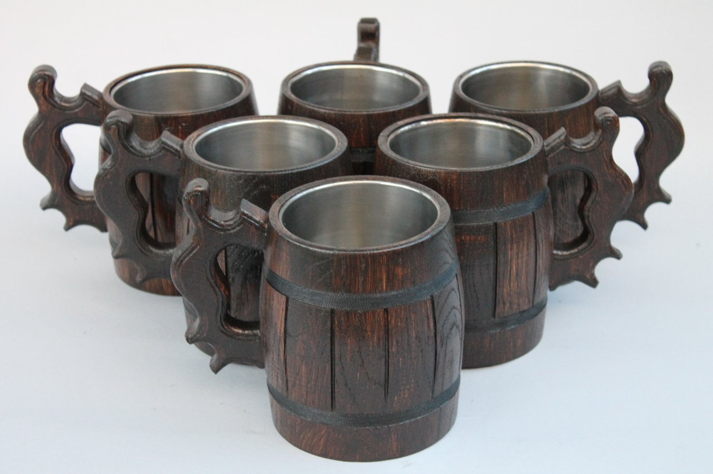 Set of 6 Handmade Wooden Beer Mug of Wood Eco Friendly Great Gift Ideas