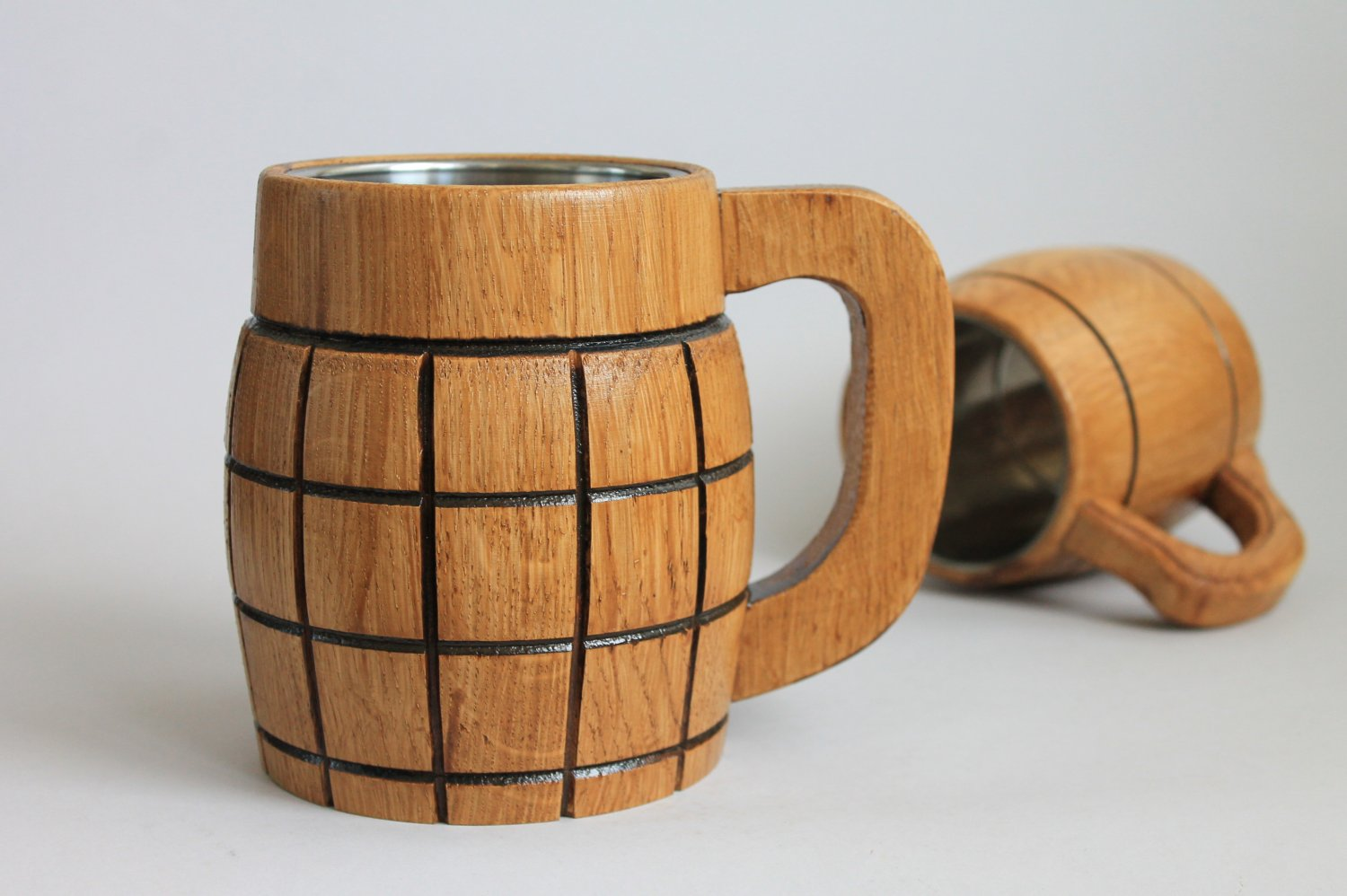 Large Beer Mug with Metal Inside Made of Wood Eco Friendly Oak, Mug for the Best Man Gift