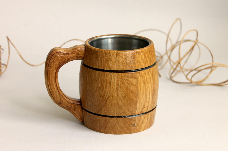 Small wooden beer mug