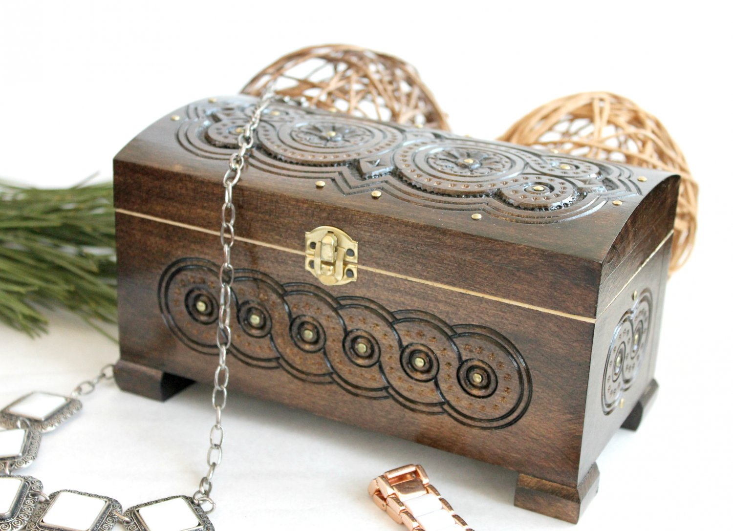 Wooden Storage Chest Jewelry Trinket Box Organizer Multipurpose with Hand Carved