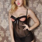 See-through Hollow Mesh Ruffle Chemise