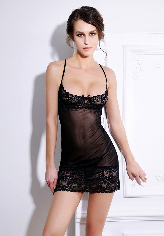 Sexy Sheer Lace Mesh Panel Chemise