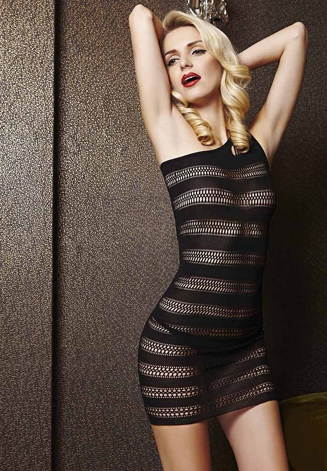 Sexy One-Shoulder See Through Mesh Chemise Dress