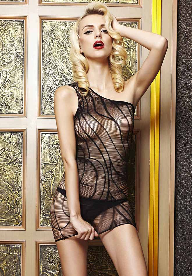 Black Striped Mesh Chemise Dress