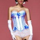 White Blue Sassy Sailor Burlesque Corset Bustier