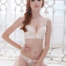 Sweet Floral Embroidered Jacquard Push Up Bra and Panty Set