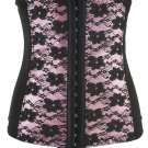 Pink Floral Embroidered Lace Corset