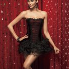 Black Strapless Corset With Middle Red Inset Panel and Trim Feature