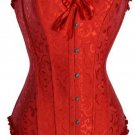 Red Glamourous Jacquard Floral Overbust Boning Corset Bustier