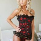 Black Overbust Corset With Red Floral Print and Lace Trim, Front Busk