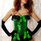 Green Sequin Pin-Up Burlesque Corset