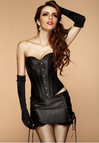 PVC Leather Long Line Bustier with Mini Skirt