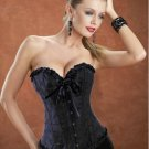 Black Embroidered Strapless Corset