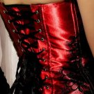 Red Classical Lace Overlay Corset