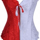 Red and White Jacquard Tapestry Corset Bustier