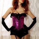 Fuchsia Sequin Pin-Up Burlesque Corset