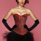 Red Black Geisha Goddess Burlesque Corset Bustier With Tutu Skirt