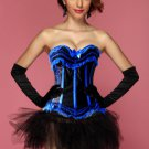 Black Blue Sensational Ruffles Trimmed Fashion Bustier Corset With Tutu Skirt