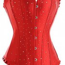 Red Classic Broadway Sequins Long Line Corset Bustier
