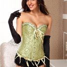 Green Victorian Jacquard Tapestry Corset Bustier