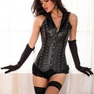 Faux Leather Halter Neck Corset