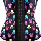 Latex Waist Trainer Butterfly Bow Print Corset