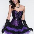 Black Floral Embellished Lace-up Back Corset