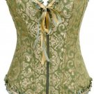 Green Victorian Jacquard Tapestry Zipper Corset Bustier