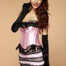 Plus Size Satin Ruffle Details Corset Dress with Ribbon
