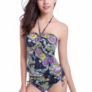 Multi-color Floral Ruched Halter Tankini Swimsuit