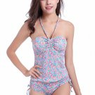 Pink Floral Ruched Halter Tankini Swimsuit