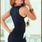V-Cut Black and White Mini Dress