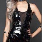 Vinyl Classics Plunge Shiny Black Dress