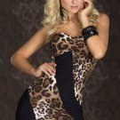 Leopard and Black Strapless Mini Dress(Size M & L are available)
