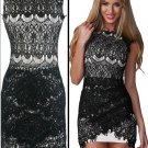 Luxury Sleeveless Embroideried Hollow-Out Crochet Lace Mini Dress