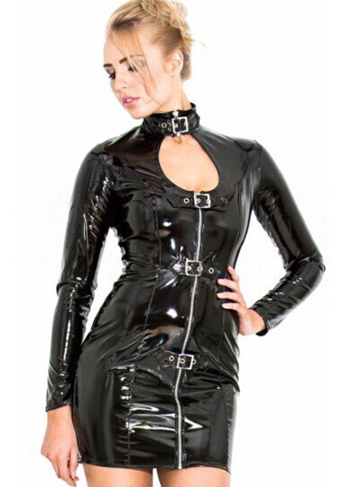 Metallic Wet Look Mini Dress
