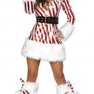 Sexy Candy Cane Hooded Christmas Dress