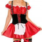 Red French Maid Style Dress Costume