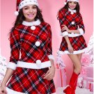 Elegant Red Plaid Santa's Costume Top and Skirt Set