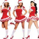 Lace Trim Christmas Strapless Dress