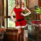 Christmas Costume Red Velvet Stretch Mini Dress