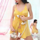 Yellow Embroidered Lace Babydoll