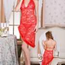 Red Embroidered Lace Chemise with Halter Neck
