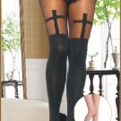 Black & Sheer Cross Pantyhose